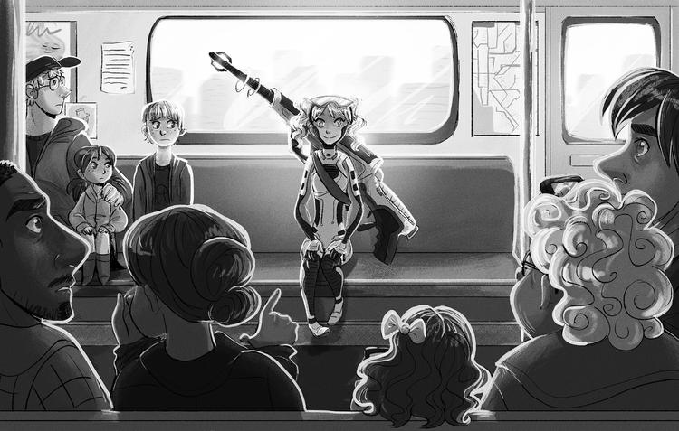 Morning Commute - illustration, digital - susandrawsthings   ello