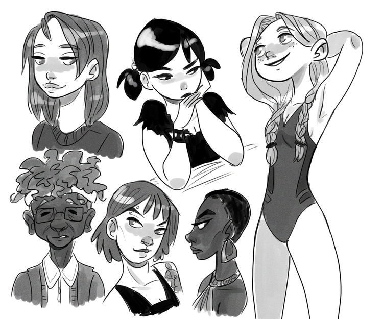 sketches, girls, digital - susandrawsthings | ello