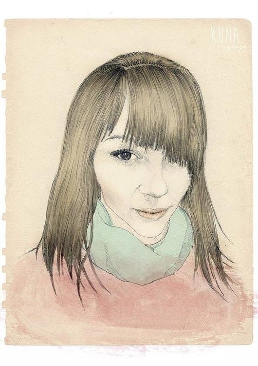 friend - portrait, mixedmedia - kunarysuje | ello