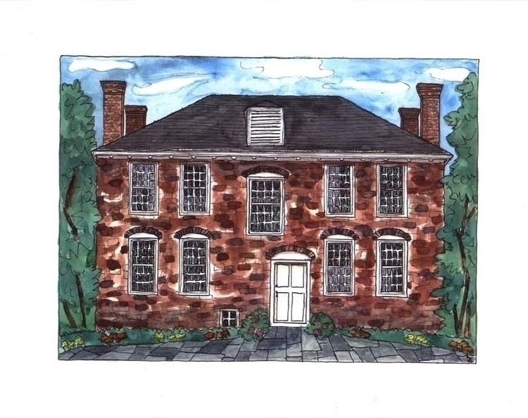 House, watercolor pen ink, comm - laurencurtis   ello