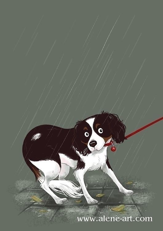 RAINING.... Myrna walking rain - aleneart   ello