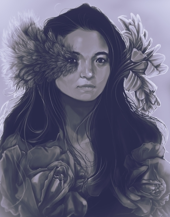 Lady Malurus Cyaneus - fashion, portrait - evensillustration   ello