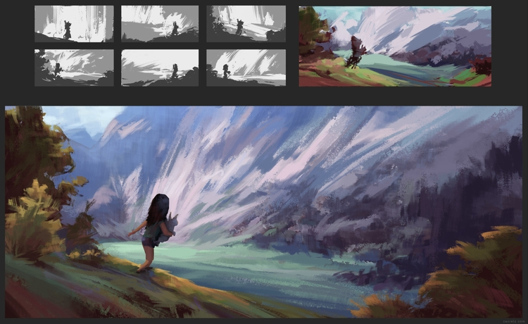 figure landscapes - apaintingeveryday - zacretz | ello