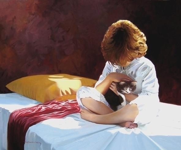 Tenderness 81x100 cm. oil canva - josehiguera | ello