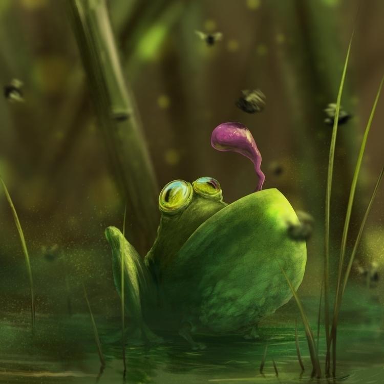 funny frog - animal, digitalillustration - whitewall   ello