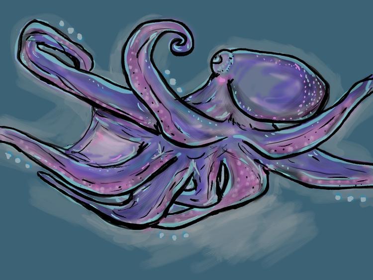 Otto Octopus - octopus, ocean, digitalart - panikot | ello