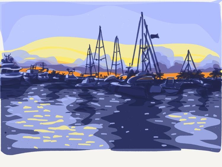 Boats Sunset - illustration, ipad - madelinekohm | ello