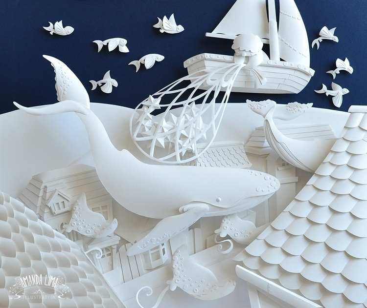 Fishing Stars - whale, paper, sculpture - amandalima-5658 | ello