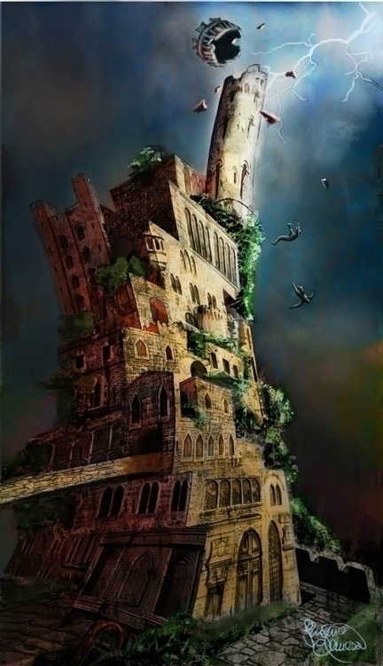 Tower - illustration, painting, conceptart - vanillika | ello