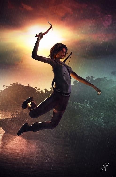 Lara Croft Midair - 3d, design, characterdesign - mason-1288 | ello