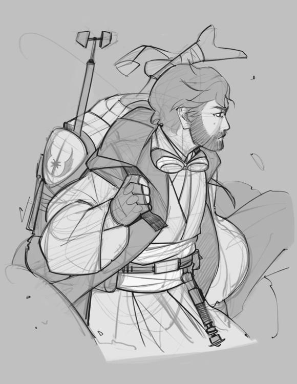Ben Kenobi - sketch, illustration - charlestan | ello