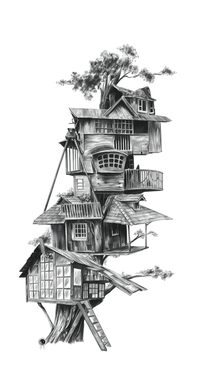 Treehouse --Digital Illustratio - adamdunt | ello