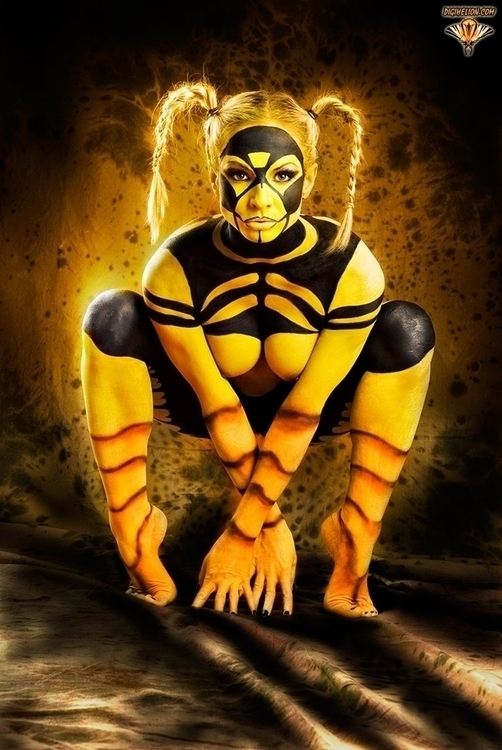 Guardian Honey Sunset - bodypainting - digihelion | ello