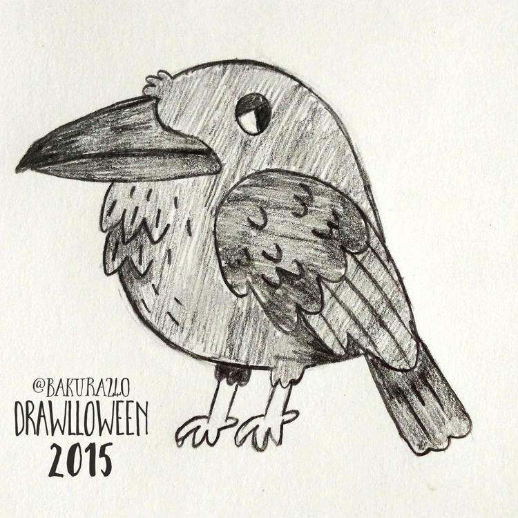 11 - Raven - raven, sketch, drawlloween - clairestamper | ello