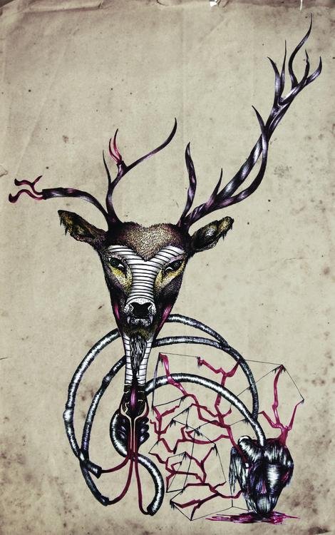 dear - illustration, deer, pen - ibtisam   ello