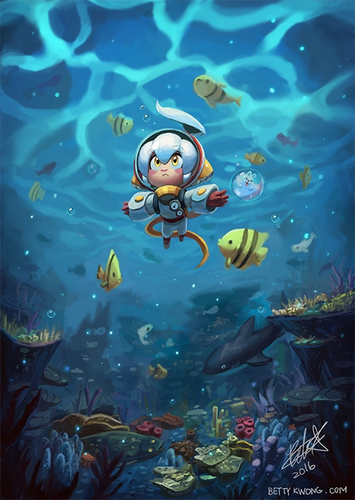 original character, Bendi, swim - bettykwong | ello