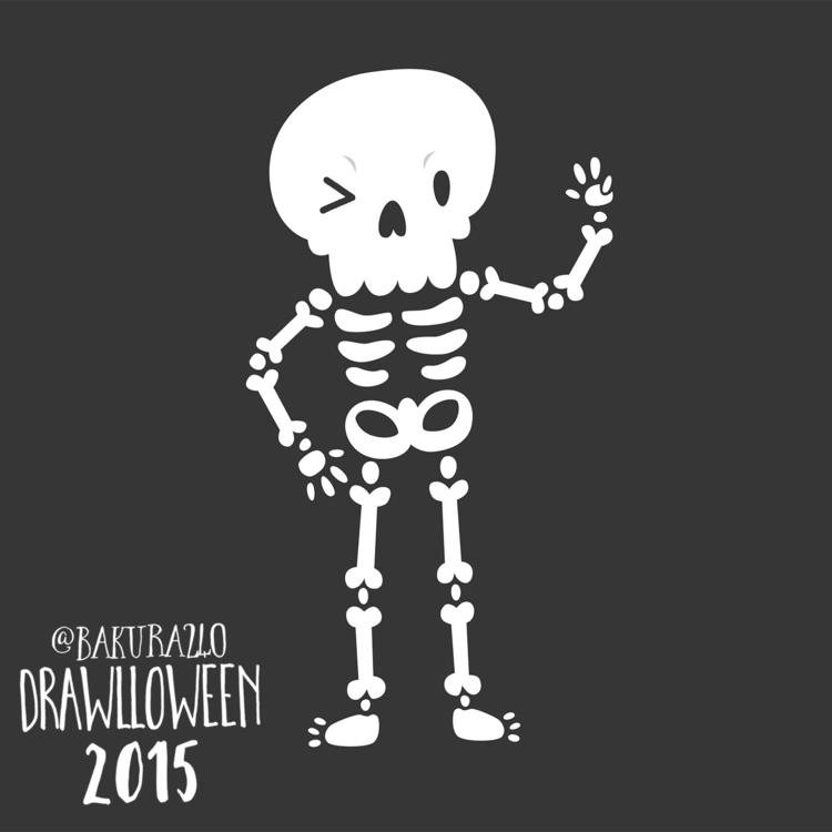 24 - Skeleton - drawlloween, skeleton - clairestamper | ello