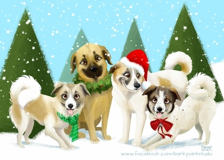 Big Fluffy Dog Christmas Card - dog - barkpointstudio | ello