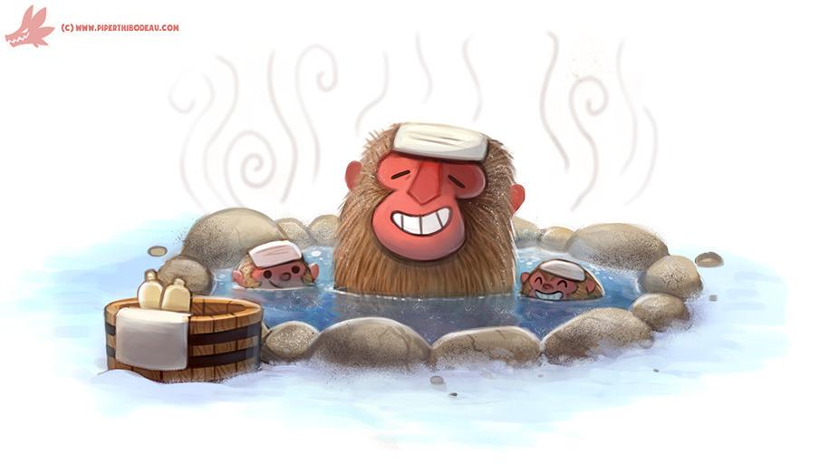 Daily Paint Snow Monkeys - 1135. - piperthibodeau | ello
