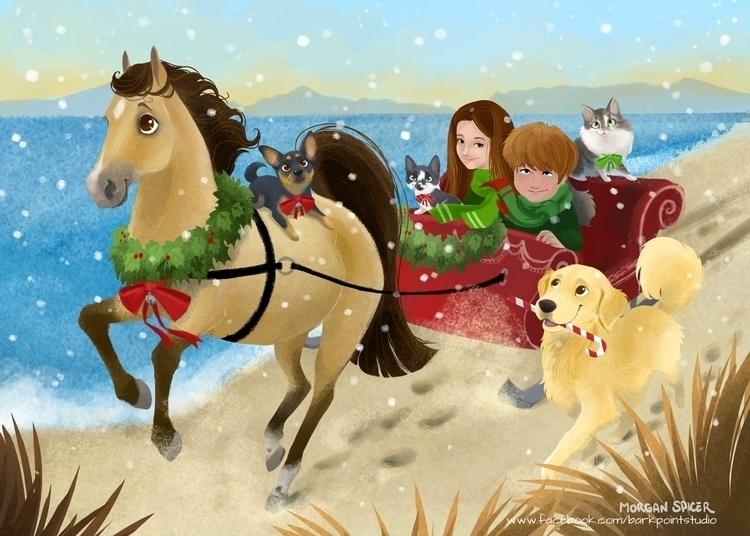 Carrie Family Christmas - horse - barkpointstudio   ello