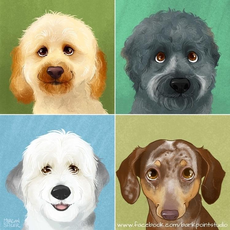 4 Illustrated Portraits - dog, dogs - barkpointstudio   ello