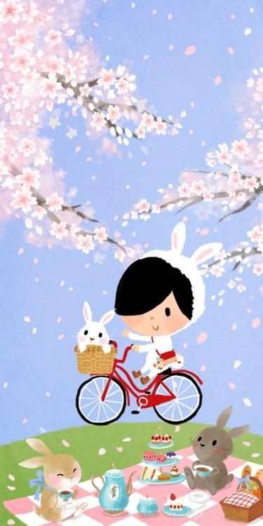 Spring! rabbit picnic cherry bl - lonlee | ello