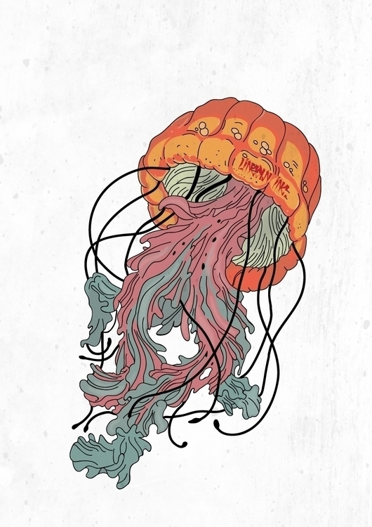 Jellyfish - illustration, drawing - lincoln_inc | ello