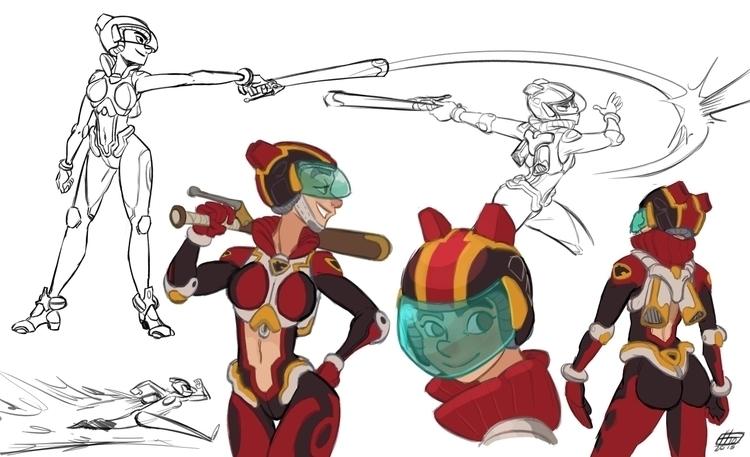 Sci-Fi Softball studies - characterdesign - emanuelearnaldi | ello