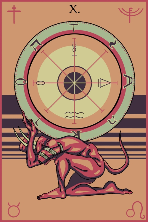 Wheel Fortune - illustration, tarot - wingywonky-5811 | ello
