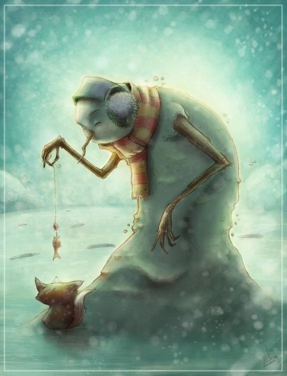Boneco de neve - illustration, painting - mateuzfernandes | ello
