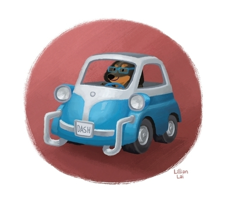 Dachshund driving microcar - dogs - lillisketch | ello