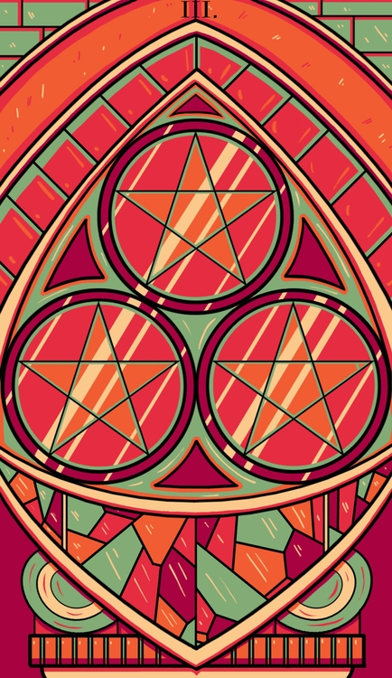 Pentacles - illustration, tarot - wingywonky-5811 | ello