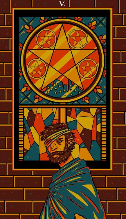 Pentacles - illustration, tarot - wingywonky-5811   ello