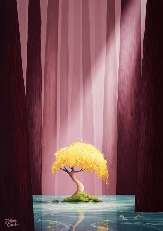 light - forest, pink, yellow, trees - pattiewaffle | ello