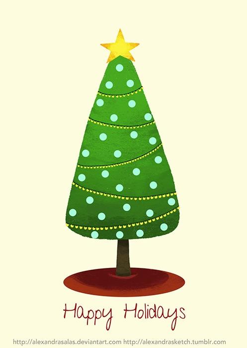 christmas, holidays, christmastree - alexandrasketch | ello