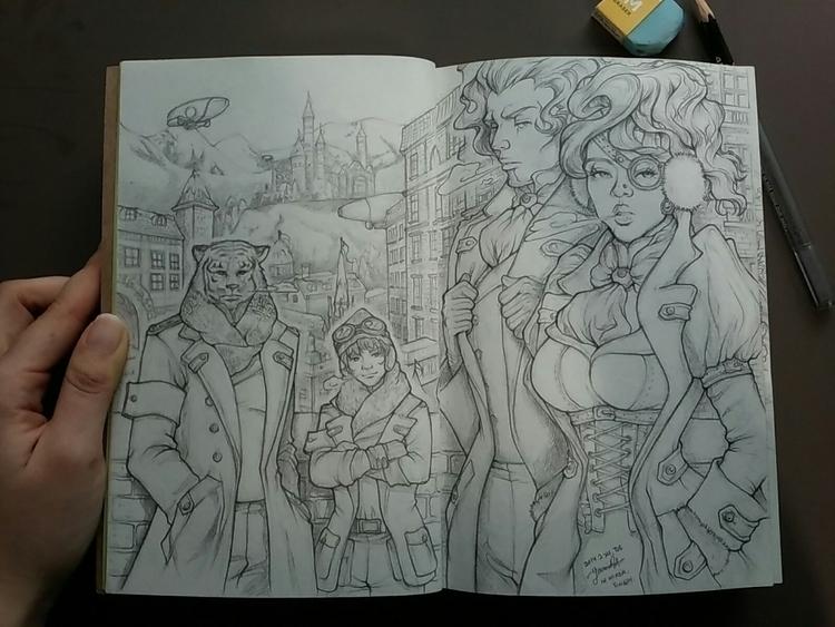 Concept scene sketch 1-1 - sketchbook - 4oclockvoyage | ello