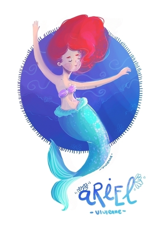 Ariel Mermaid - illustration, painting - viviennepretelt | ello