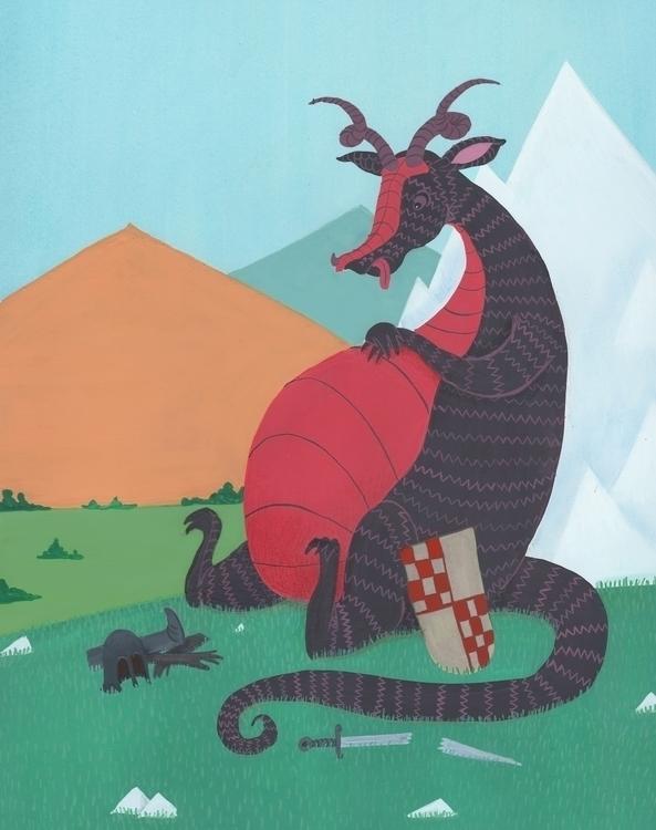 big lunch - dragon, painting, gouache - beth-6270   ello