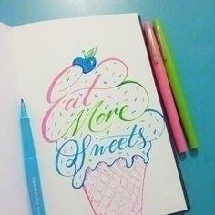 lettering, handlettering, icecream - aneelarashid | ello