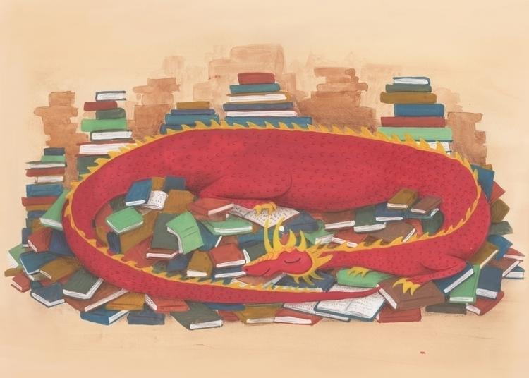 Dragons love books - children'sillustration - beth-6270 | ello