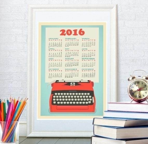 Retro typewriter wall calendar - yaviki | ello