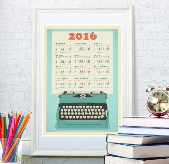 Blue typewriter calendar - illustration - yaviki | ello