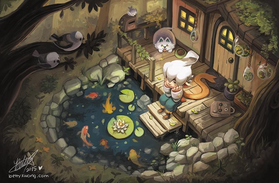 Koi pond painting characters! u - bettykwong | ello