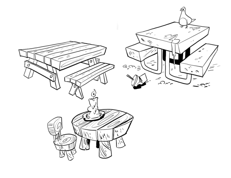 tables, propdesign, visualdevelopment - willterrell | ello