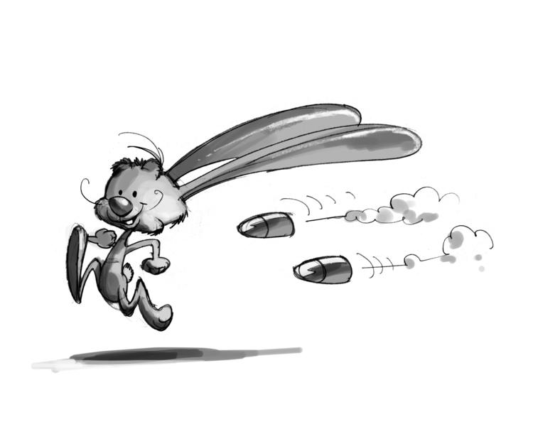 Rabbit bullet - illustration, drawing - tiho-3213 | ello