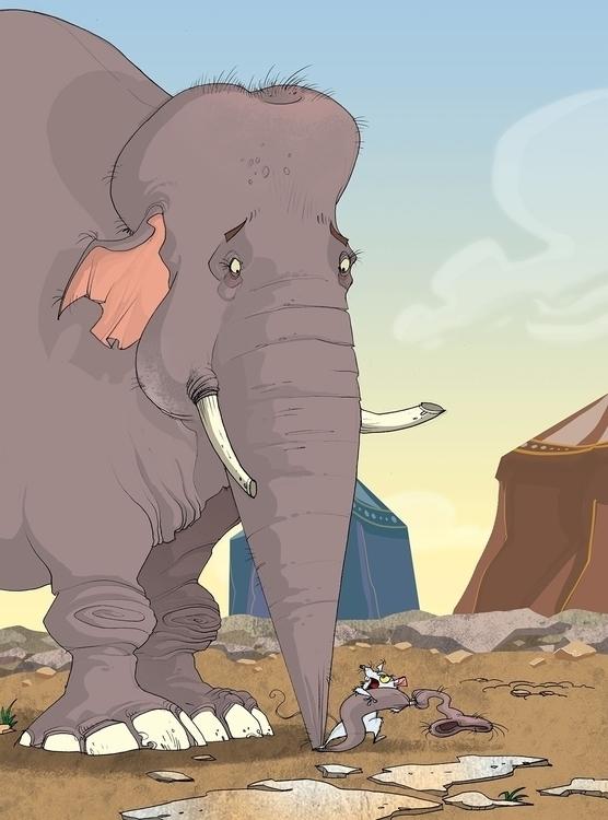 Mouse elephant - illustration - tiho-3213 | ello