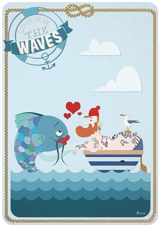 Love waves - love,sea,sailor,fish,wave,hipster,tatoo - rose-1168 | ello