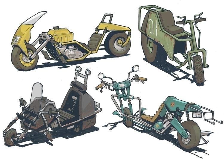 sketch, motorcycle, vehicle - jon-6922 | ello