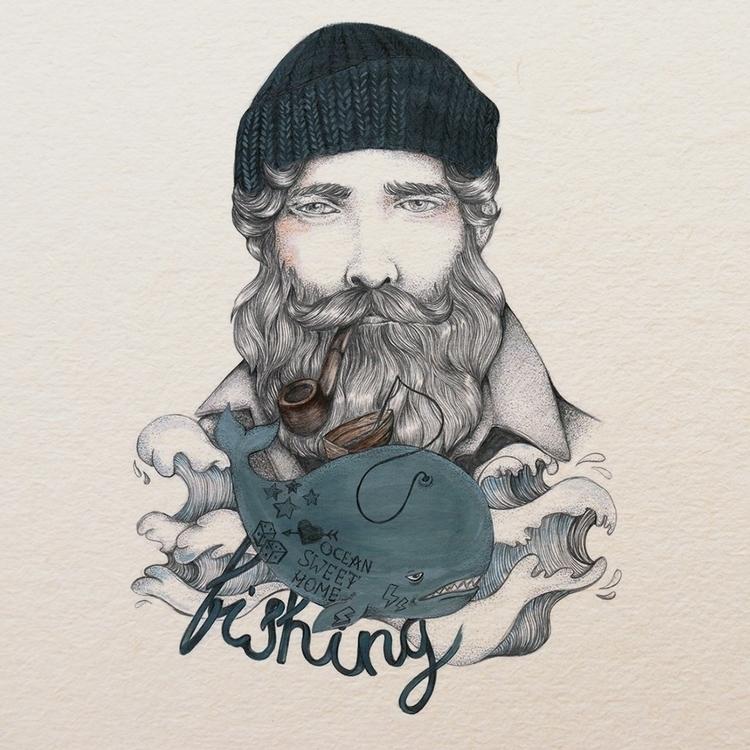 fishing - illustration, man, drawing - oh_xeni   ello