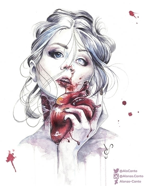 Heart - illustration, watercolour - alonzocanto | ello